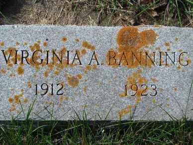 BANNING, VIRGINIA  A. - Minnehaha County, South Dakota | VIRGINIA  A. BANNING - South Dakota Gravestone Photos