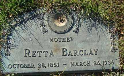 BARCLAY, RETTA - Minnehaha County, South Dakota | RETTA BARCLAY - South Dakota Gravestone Photos
