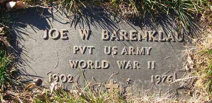BARENKLAU, JOE W. - Minnehaha County, South Dakota | JOE W. BARENKLAU - South Dakota Gravestone Photos
