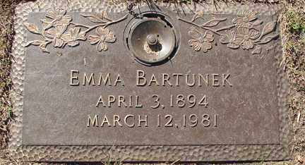 BARTUNEK, EMMA - Minnehaha County, South Dakota | EMMA BARTUNEK - South Dakota Gravestone Photos