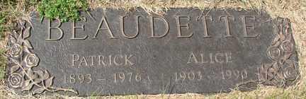 BEAUDETTE, ALICE - Minnehaha County, South Dakota | ALICE BEAUDETTE - South Dakota Gravestone Photos