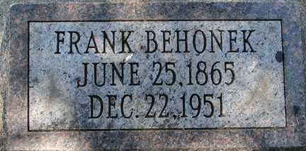 BEHONEK, FRANK - Minnehaha County, South Dakota | FRANK BEHONEK - South Dakota Gravestone Photos