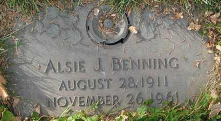 BENNING, ALSIE J. - Minnehaha County, South Dakota | ALSIE J. BENNING - South Dakota Gravestone Photos