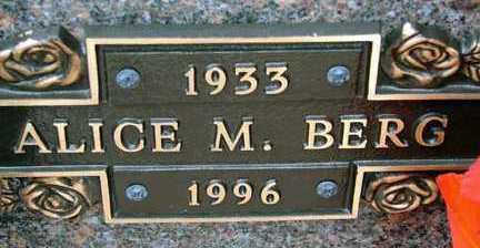 BERG, ALICE M. - Minnehaha County, South Dakota   ALICE M. BERG - South Dakota Gravestone Photos