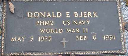 BJERK, DONALD E. (WWII) - Minnehaha County, South Dakota | DONALD E. (WWII) BJERK - South Dakota Gravestone Photos