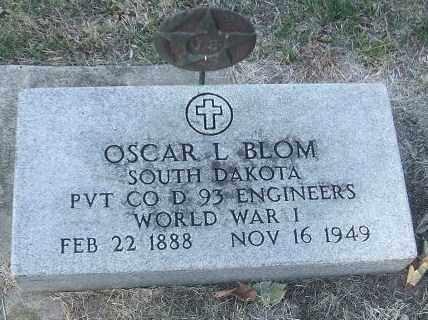 BLOM, OSCAR L. (WWI) - Minnehaha County, South Dakota | OSCAR L. (WWI) BLOM - South Dakota Gravestone Photos