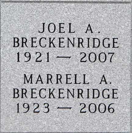 BRECKENRIDGE, MARRELL A. - Minnehaha County, South Dakota | MARRELL A. BRECKENRIDGE - South Dakota Gravestone Photos