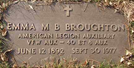 BROUGHTON, EMMA M.B. - Minnehaha County, South Dakota | EMMA M.B. BROUGHTON - South Dakota Gravestone Photos
