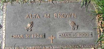 BROWN, ALTA M. - Minnehaha County, South Dakota   ALTA M. BROWN - South Dakota Gravestone Photos