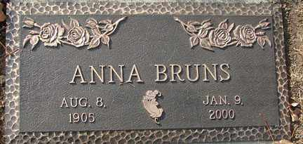 BRUNS, ANNA - Minnehaha County, South Dakota | ANNA BRUNS - South Dakota Gravestone Photos