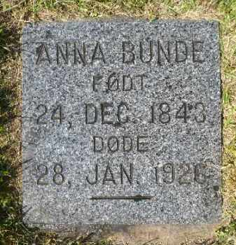 BUNDE, ANNA - Minnehaha County, South Dakota | ANNA BUNDE - South Dakota Gravestone Photos