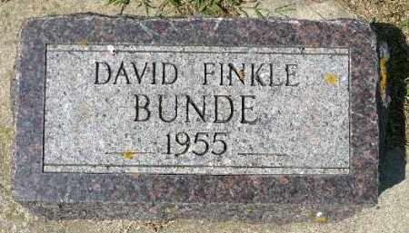 BUNDE, DAVID FINKLE - Minnehaha County, South Dakota   DAVID FINKLE BUNDE - South Dakota Gravestone Photos