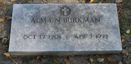 BURKMAN, ALMA N. - Minnehaha County, South Dakota   ALMA N. BURKMAN - South Dakota Gravestone Photos