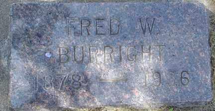 BURRIGHT, FRED W. - Minnehaha County, South Dakota   FRED W. BURRIGHT - South Dakota Gravestone Photos