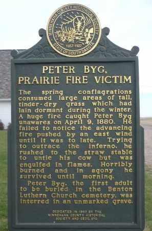 *BYG, PETER (HISTORIC MARKER BACK SIDE) - Minnehaha County, South Dakota | PETER (HISTORIC MARKER BACK SIDE) *BYG - South Dakota Gravestone Photos