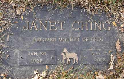 CHING, JANET - Minnehaha County, South Dakota | JANET CHING - South Dakota Gravestone Photos