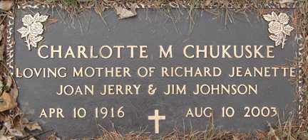 MILLER CHUKUSKE, CHARLOTTE M. - Minnehaha County, South Dakota | CHARLOTTE M. MILLER CHUKUSKE - South Dakota Gravestone Photos