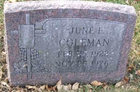 COLEMAN, JUNE E. - Minnehaha County, South Dakota | JUNE E. COLEMAN - South Dakota Gravestone Photos