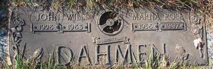 DAHMEN, JOHN WILL - Minnehaha County, South Dakota | JOHN WILL DAHMEN - South Dakota Gravestone Photos