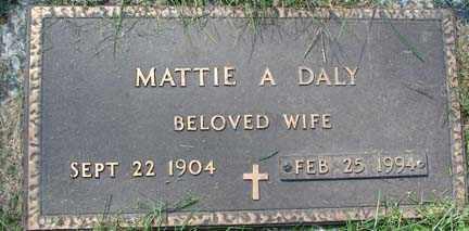 DALY, MATTIE A. - Minnehaha County, South Dakota   MATTIE A. DALY - South Dakota Gravestone Photos