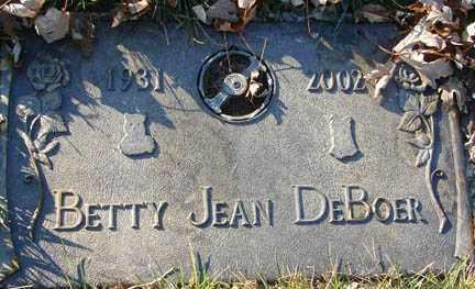 DE BOER, BETTY JEAN - Minnehaha County, South Dakota | BETTY JEAN DE BOER - South Dakota Gravestone Photos