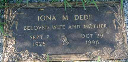 DEDE, IONA M. - Minnehaha County, South Dakota | IONA M. DEDE - South Dakota Gravestone Photos