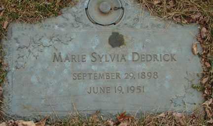 DEDRICK, MARIE SYLVIA - Minnehaha County, South Dakota | MARIE SYLVIA DEDRICK - South Dakota Gravestone Photos