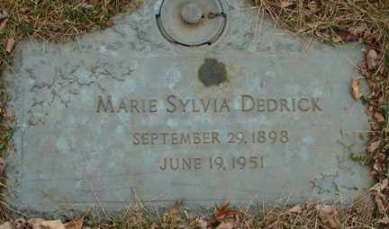 DEDRICK, MARIE SYLVIA - Minnehaha County, South Dakota | MARIE SYLVIA DEDRICK - South Dakota Gravestone Photos