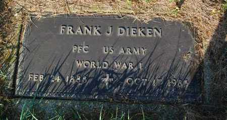 DIEKEN, FRANK J. (WW I) - Minnehaha County, South Dakota   FRANK J. (WW I) DIEKEN - South Dakota Gravestone Photos