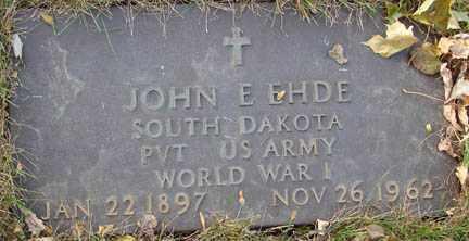 EHDE, JOHN - Minnehaha County, South Dakota | JOHN EHDE - South Dakota Gravestone Photos