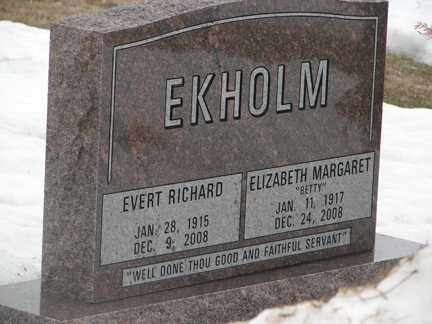 EKHOLM, EVERT RICHARD - Minnehaha County, South Dakota | EVERT RICHARD EKHOLM - South Dakota Gravestone Photos