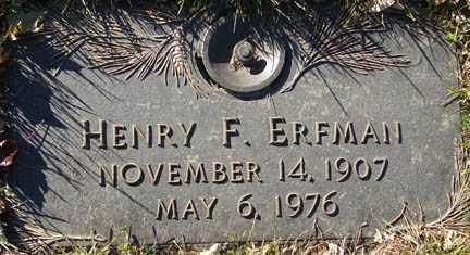 ERFMAN, HENRY FREDERICK - Minnehaha County, South Dakota | HENRY FREDERICK ERFMAN - South Dakota Gravestone Photos