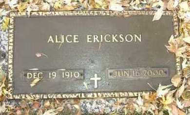ERICKSON, ALICE - Minnehaha County, South Dakota | ALICE ERICKSON - South Dakota Gravestone Photos