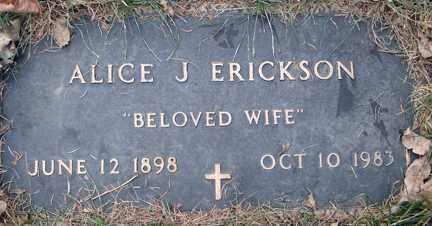 ERICKSON, ALICE J. - Minnehaha County, South Dakota | ALICE J. ERICKSON - South Dakota Gravestone Photos