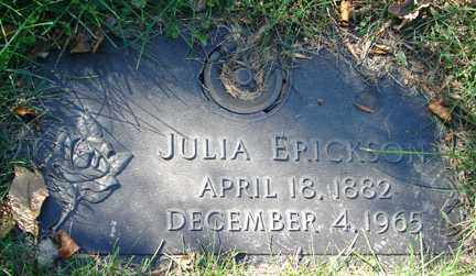 ERICKSON, JULIA - Minnehaha County, South Dakota | JULIA ERICKSON - South Dakota Gravestone Photos