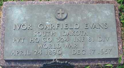 EVANS, IVOR GARFIELD (WWI) - Minnehaha County, South Dakota | IVOR GARFIELD (WWI) EVANS - South Dakota Gravestone Photos