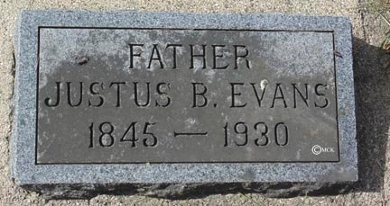 EVANS, JUSTUS B. - Minnehaha County, South Dakota | JUSTUS B. EVANS - South Dakota Gravestone Photos