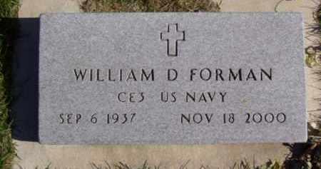 FORMAN, WILLIAM D. - Minnehaha County, South Dakota   WILLIAM D. FORMAN - South Dakota Gravestone Photos