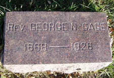 GAGE, GEORGE N. REV. - Minnehaha County, South Dakota   GEORGE N. REV. GAGE - South Dakota Gravestone Photos