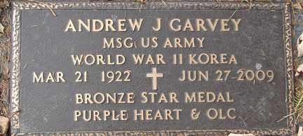 GARVEY, ANDREW J. (WWII - KOREA) - Minnehaha County, South Dakota   ANDREW J. (WWII - KOREA) GARVEY - South Dakota Gravestone Photos