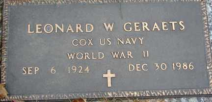 GERAETS, LEONARD W. (WWII) - Minnehaha County, South Dakota | LEONARD W. (WWII) GERAETS - South Dakota Gravestone Photos