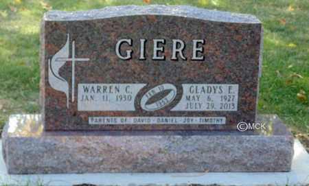 GIERE, WARREN C. - Minnehaha County, South Dakota | WARREN C. GIERE - South Dakota Gravestone Photos