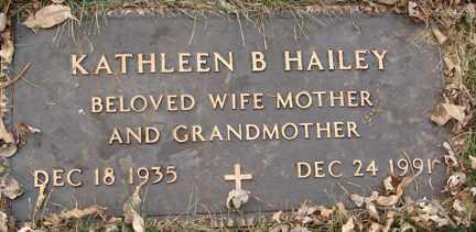 HAILEY, KATHLEEN B. - Minnehaha County, South Dakota | KATHLEEN B. HAILEY - South Dakota Gravestone Photos