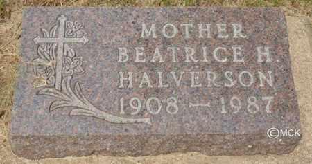 HALVERSON, BEATRICE H. - Minnehaha County, South Dakota   BEATRICE H. HALVERSON - South Dakota Gravestone Photos