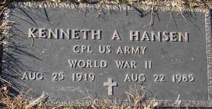 HANSEN, KENNETH A. (WWII) - Minnehaha County, South Dakota | KENNETH A. (WWII) HANSEN - South Dakota Gravestone Photos