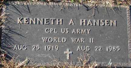 HANSEN, KENNETH A. (WWII) - Minnehaha County, South Dakota | KENNETH A. (WWII) HANSEN - South Dakota Gravestone Photos
