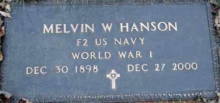 HANSON, MELVIN W. (WWI) - Minnehaha County, South Dakota   MELVIN W. (WWI) HANSON - South Dakota Gravestone Photos