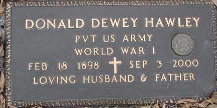 HAWLEY, DONALD DEWEY (WWI) - Minnehaha County, South Dakota   DONALD DEWEY (WWI) HAWLEY - South Dakota Gravestone Photos