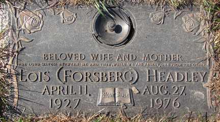 HEADLEY, LOIS - Minnehaha County, South Dakota   LOIS HEADLEY - South Dakota Gravestone Photos