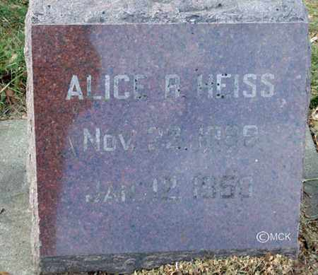 HEISS, ALICE - Minnehaha County, South Dakota | ALICE HEISS - South Dakota Gravestone Photos